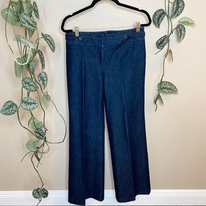 Kenneth Cole Wide Leg Dark Wash Denim Trousers
